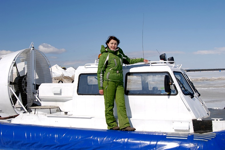 Russia vacations. Hovercraft at winter lake Baikal. Russia tours