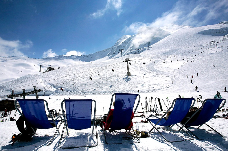 Luxury resorts Austria. Slopes of Hintertux. Winter landscape at Hintertux Glacier in Zillertal. Austria tourism.
