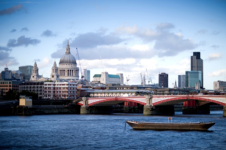 Travel to London. St. Paul Cathedral view from the Thames river embankment. London tours - vacation travel photos